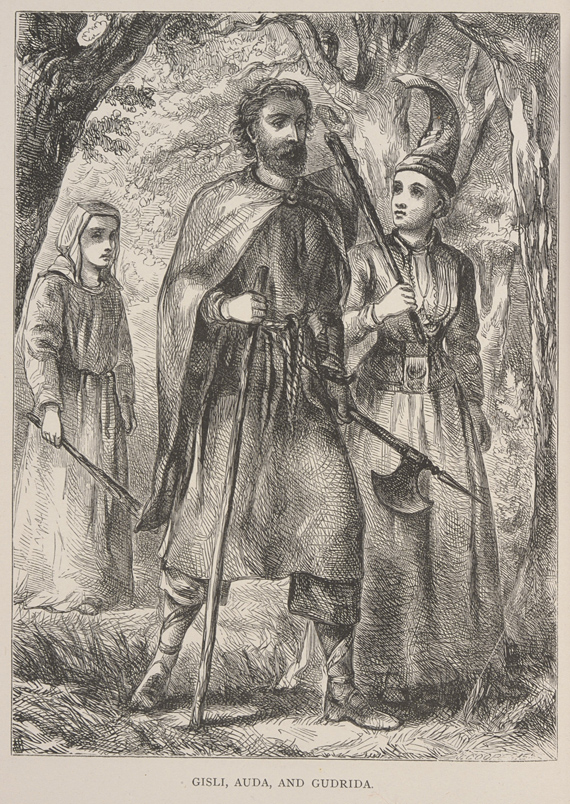 The Story of Gisli the Outlaw. Edinburgh, 1866. Sir George Webbe Dasent (1817–1896) penned several scholarly translations of Icelandic sagas, including Gísla saga Súrssonar and Brennu-Njáls saga. Their illustrations—this portrait of Gísli has a background of improbably high, mature deciduous trees for the Icelandic environment—were intended to attract a growing readership from the Victorian middle class.