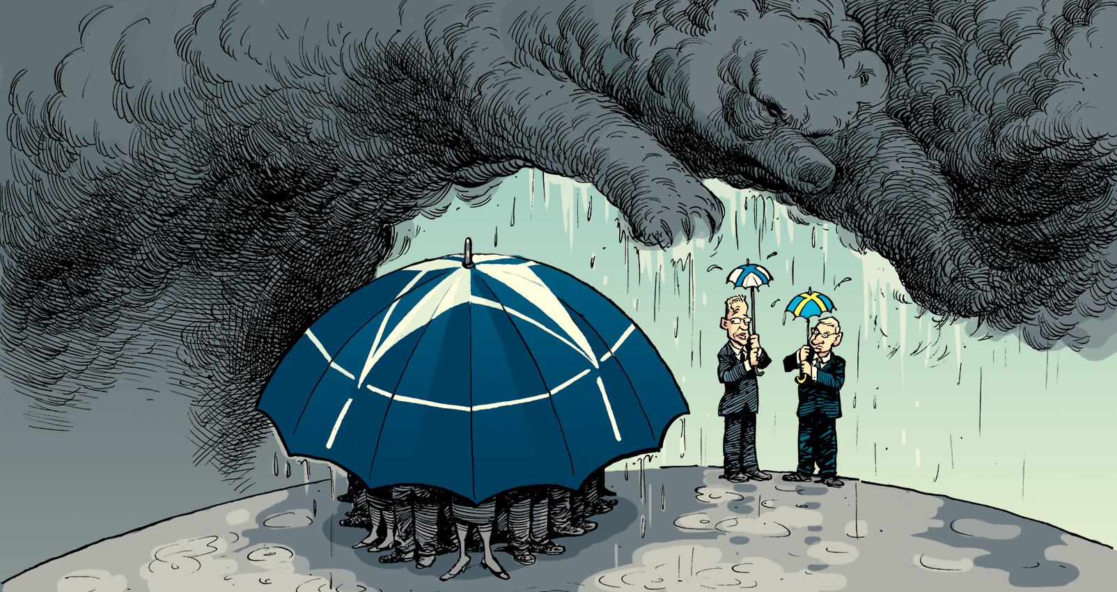 """<em>Finnland und Schweden außerhalb der NATO – für wie lange noch?</em><br>Der Cartoon von David Parkins erschien ursprünglich in <a href=""""http://www.economist.com/news/europe/21604586-russia-stokes-fresh-debate-among-nordics-about-nato-membership-what-price-neutrality"""" target=""""_blank"""">The Economist</a>. <br>Verwendung mit freundlicher Genehmigung des Zeichners. Used with permission by David Parkins, originally published in <a href=""""http://www.economist.com/news/europe/21604586-russia-stokes-fresh-debate-among-nordics-about-nato-membership-what-price-neutrality"""" target=""""_blank"""">The Economist</a>."""